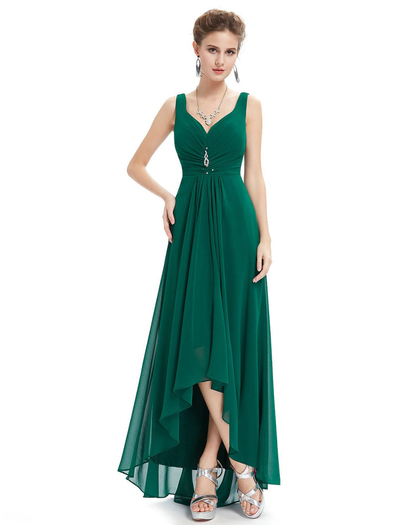 Gathered front V-neck gown