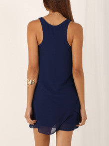 Navy Braces sleeveless ruffle dress