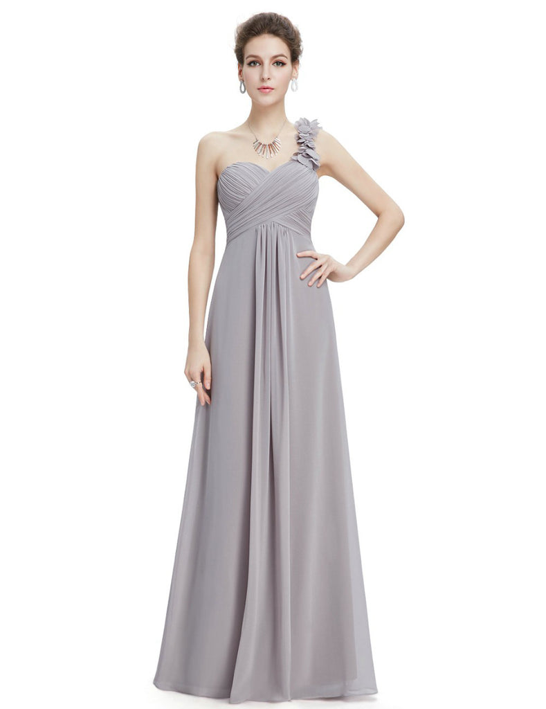 One shoulder floral gathers gown
