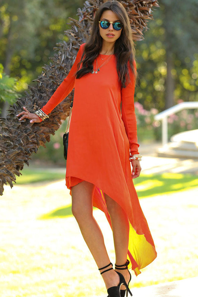 Orange Dipped Hemline Chiffon Maxi Dress
