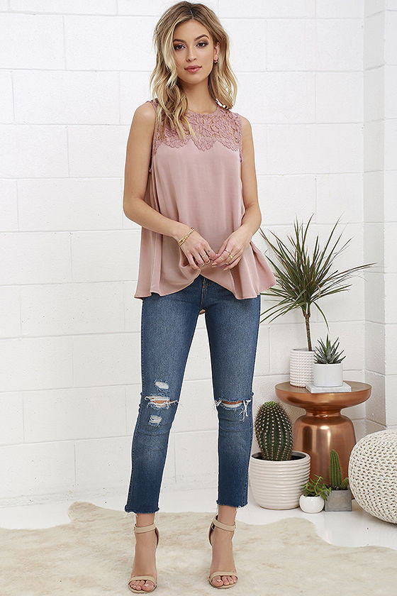 Rose lace trim top