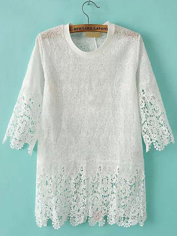 White Short Sleeve Crochet Blouse