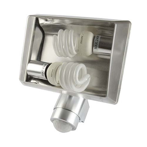 180° Aluminium Security Light 2 x 24W CFL Bulb