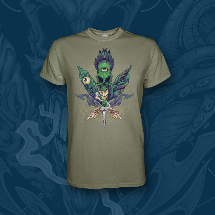 Alien Cannabis t-shirt pot leaf