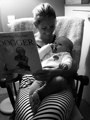 Memory of Jemma reading book to baby William at bedtime
