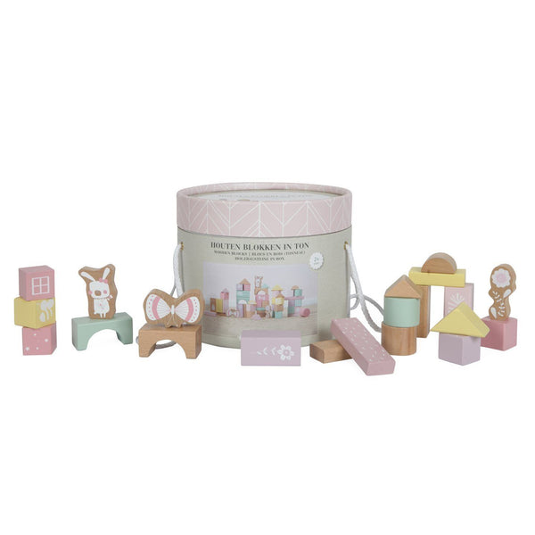 Pink Wooden Building Blocks in a Take Along Bucket