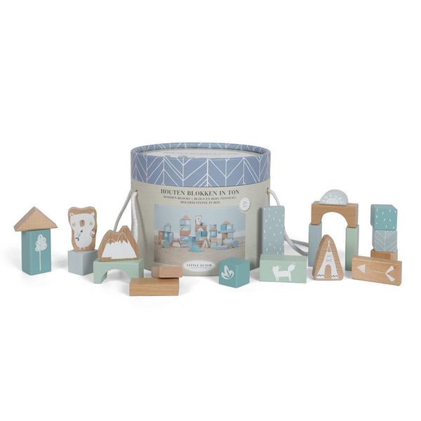 soft blue and aqua shade of wooden building blocks and animal shapes in a cardboard take along bucket by Little Dutch at Crane and Kind