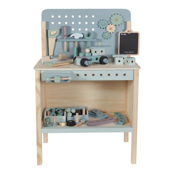 Wooden Workbench, Belt & Tools