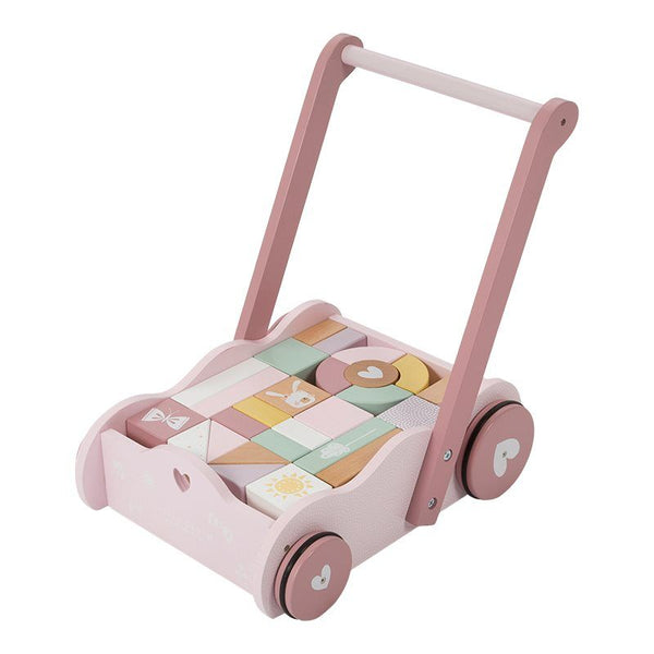 Wooden Block Trolley Baby Walker Pink