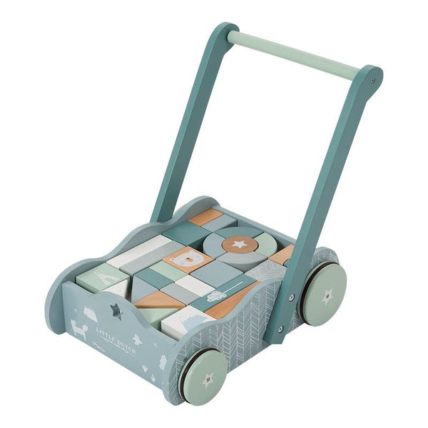 Wooden Block Trolley Baby Walker Blue