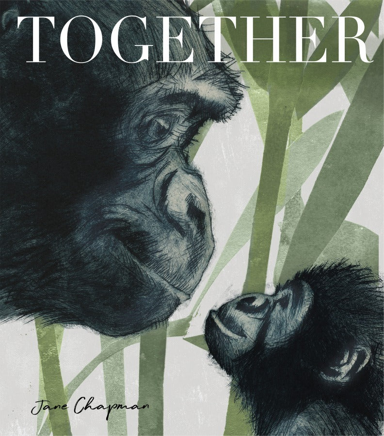 an adult gorilla looks down on a baby gorilla in the forest in Together at crane and kind a hardback book