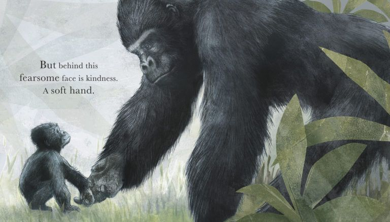 an adult gorilla looks down on a baby gorilla in the forest and they hold hands in Together at crane and kind a hardback book