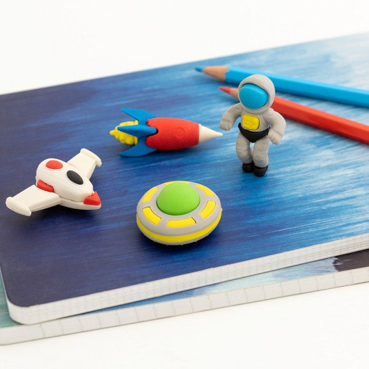 this set of fun 4 space age erasers are perfect for home schooling for working from home at Crane and kind