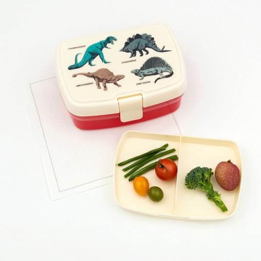 This lunch box has a removable tray with two handy compartments, so it's easy to keep veggies and fruits separated. Perfect for dino-mad kids at Crane and Kind