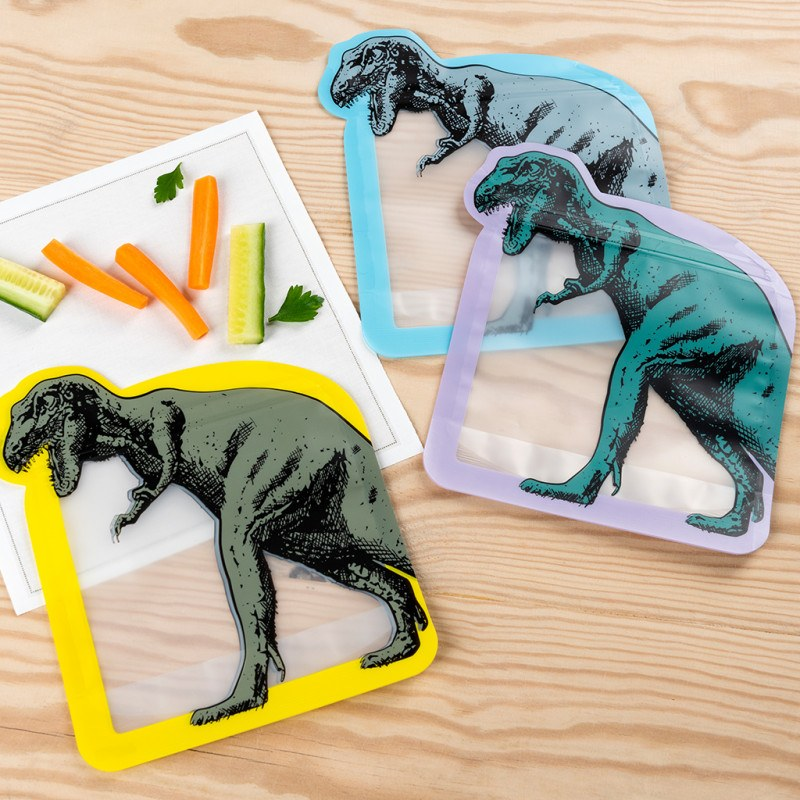Dinosaur Reusable Snack Bags (set Of 3)