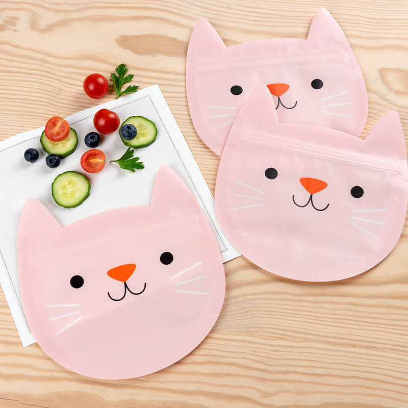Cute Cat Reusable Snack Bags (set Of 3)