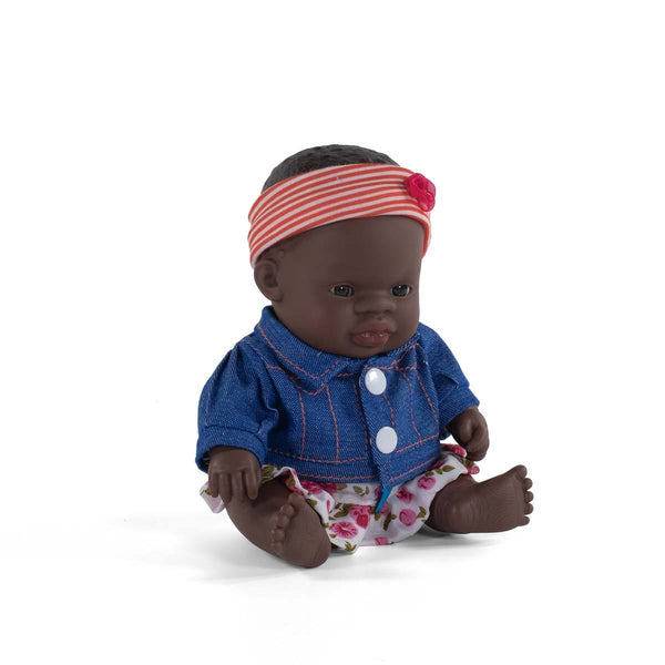 Black Baby Girl Doll & Outfit Set - 21cm