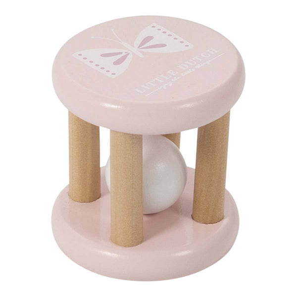 Pink Wooden Roller Rattle