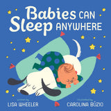 Babies can sleep anywhere at Crane and ind unique childrens books about all the strange places and ways babies sleep front cover showing a baby on a dog