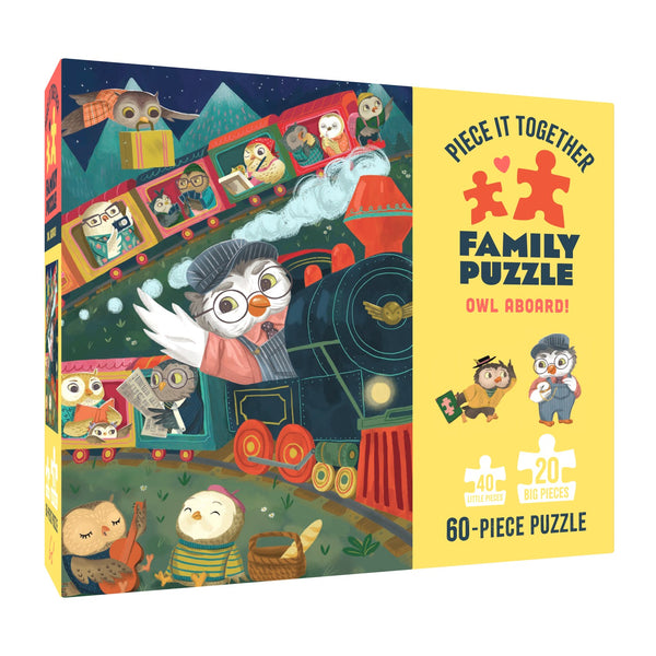 owl aboard family puzzle at crane and kind shows an owl driving a steam train with lots of owl pssengers behind him reading and enjoying the journey in this puzzle with different size pieces for fun for all the family innovative new puzzle