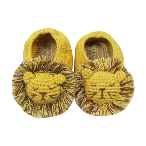 Mustard yellow hand crochet lion booties from Albetta at Crane and Kind