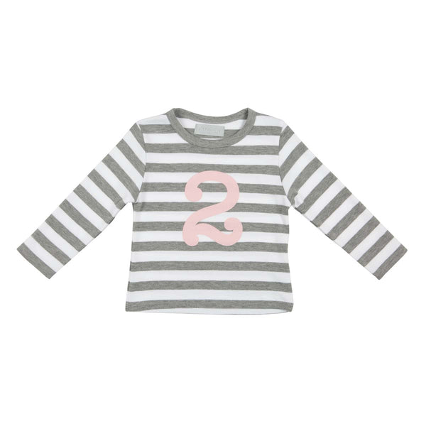 Grey Marl & Pink Number Tee