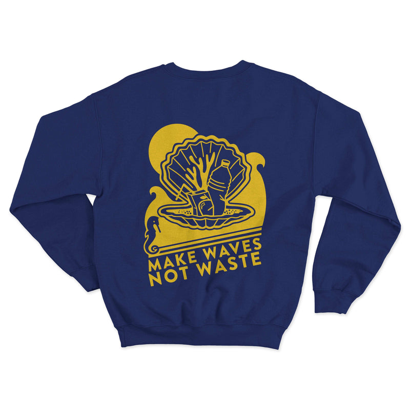 Reverse print of the adults Beach Comber Sweatshirt by Crane and Kind with Surfers Against Sewage