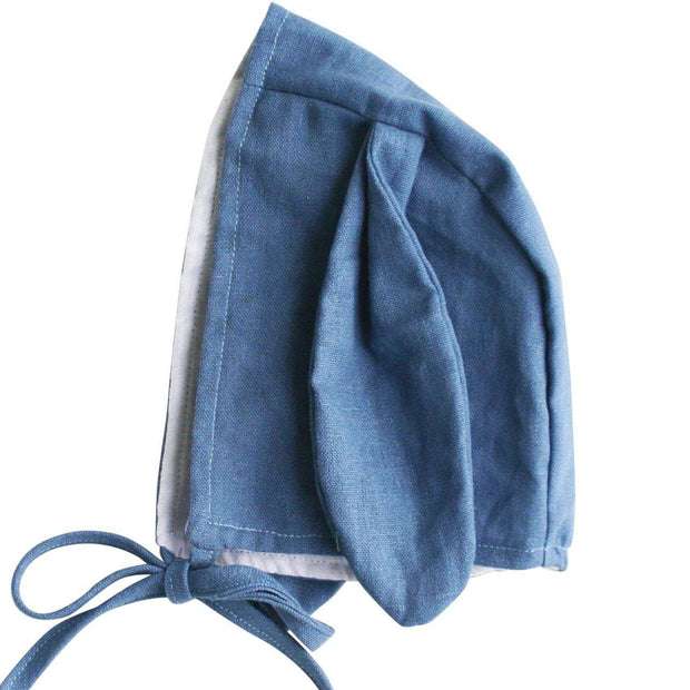Blue Chambray Linen Bunny Bonnet