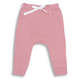 bramble pink heart bum legging trousers with a white heart on the bum a perfect new baby gift exclusively available in the UK at Crane and Kind by Sapling Child