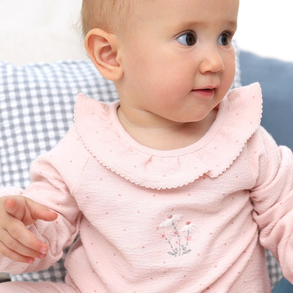 Pink polka dot embroidered baby grow by albetta at Crane and Kind