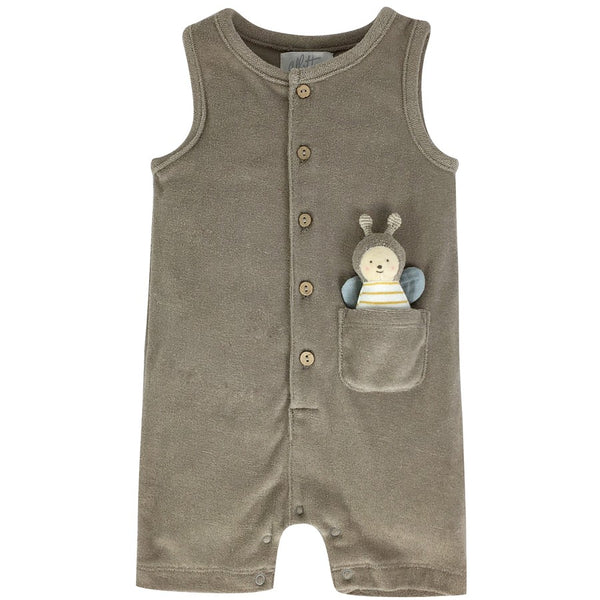 Taupe Towelling Romper with Bee Toy