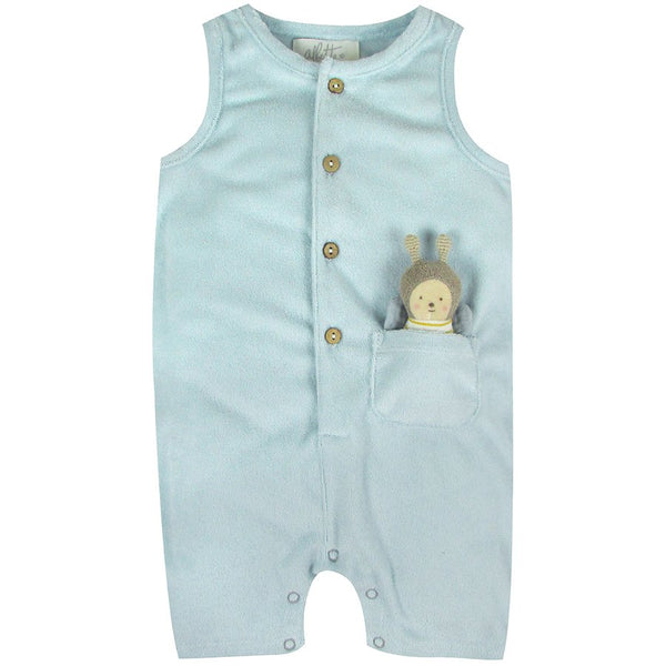 Blue Towelling Romper with Bee Toy
