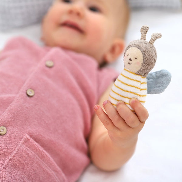 Primrose Towelling Romper with Bee Toy by Albetta at Crane and kind