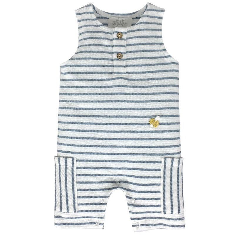Blue Mini Bee Stripe Romper