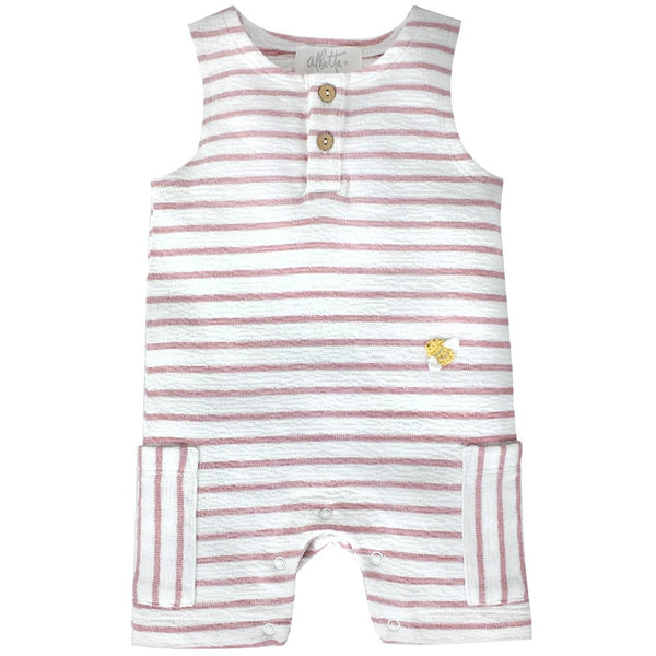 Pink Mini Bee Stripe Romper