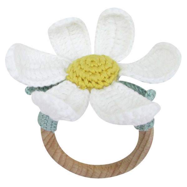 Crochet Daisy Ring Rattle by Albetta at Crane and Kind