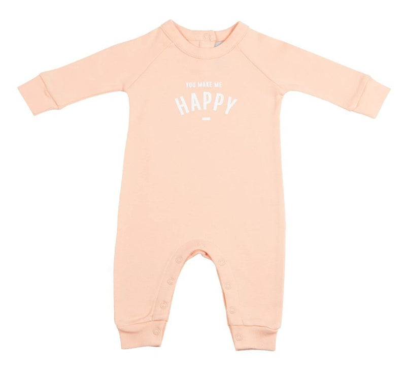 Peach organic cotton baby grow all in one featuring the words You  Make Me Happy in white on the front by Bob and Blossom at Crane and Kind