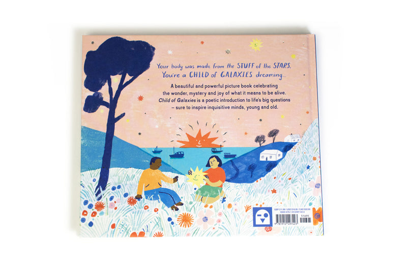 the back cover fo child of galaxies hard back book at crane and kind shows two children sat with a star under a tree in a meadow of flowers
