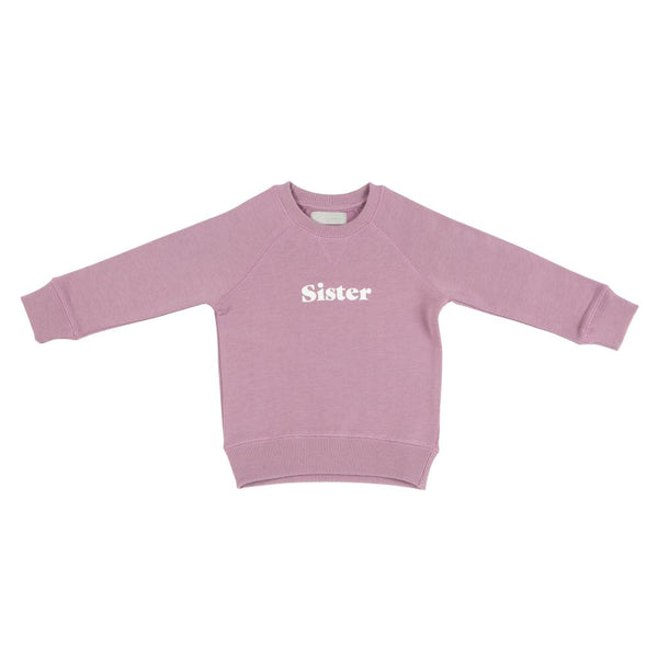 dusty violet super soft relaxed sweatshirt featuring sister in white print on the front by bob and blossom at crane and kind
