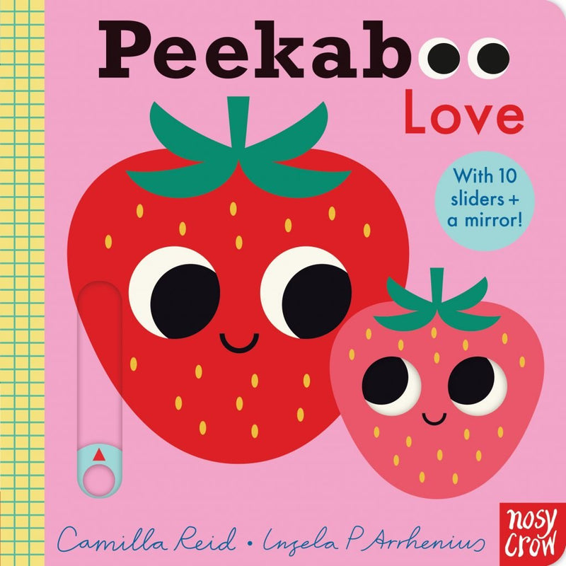 Peekaboo Love sliders board book for babies with two sweet strawberry's on the front at Crane and Kind