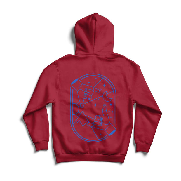 Reverse print of the adults Here For You Hoodie by Crane and Kind in association with Young Minds