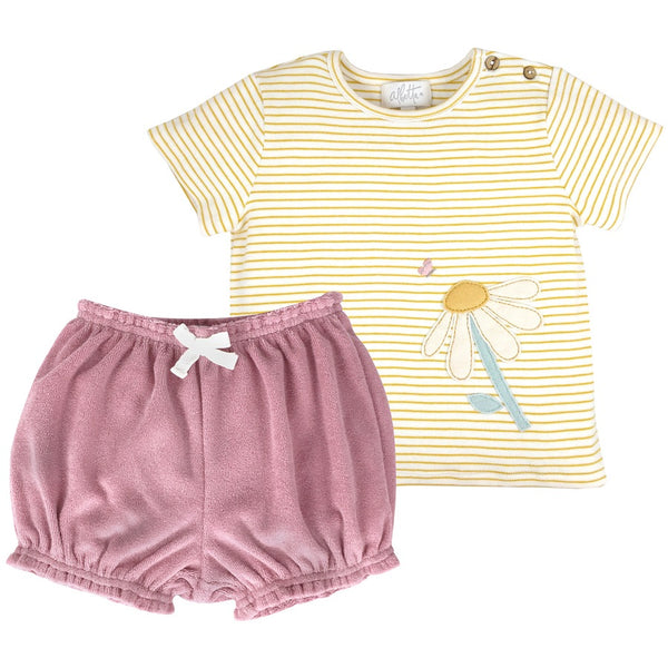 Pink & Primrose Top & Towelling Shorts Set