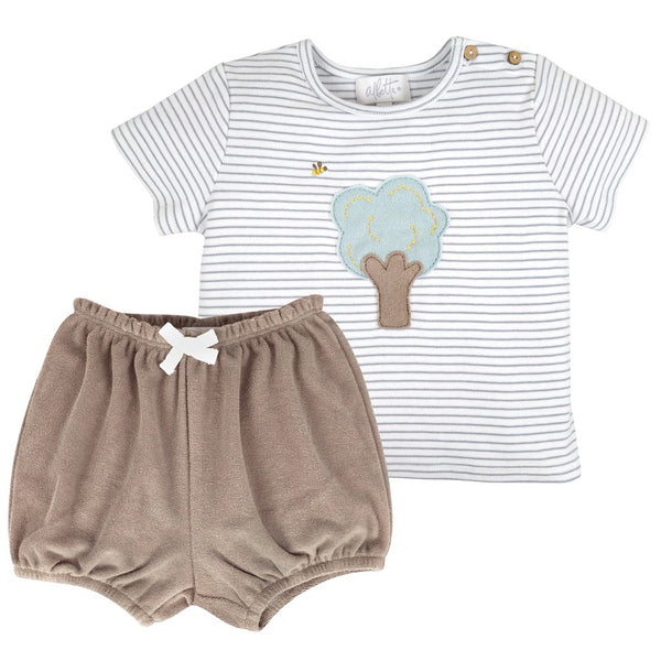 Blue & Taupe Top & Towelling Shorts Set