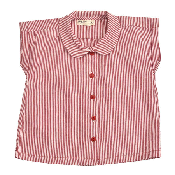 Red Peter Pan Collar Blouse by Pigeon at Crane and Kind