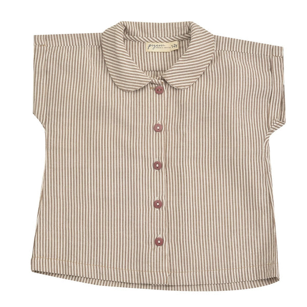 Taupe Peter Pan Collar Blouse by Pigeon at Crane and Kind