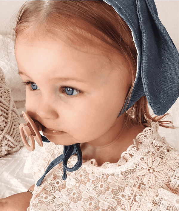 Blue Chambray Linen Bunny Bonnet - Crane and Kind