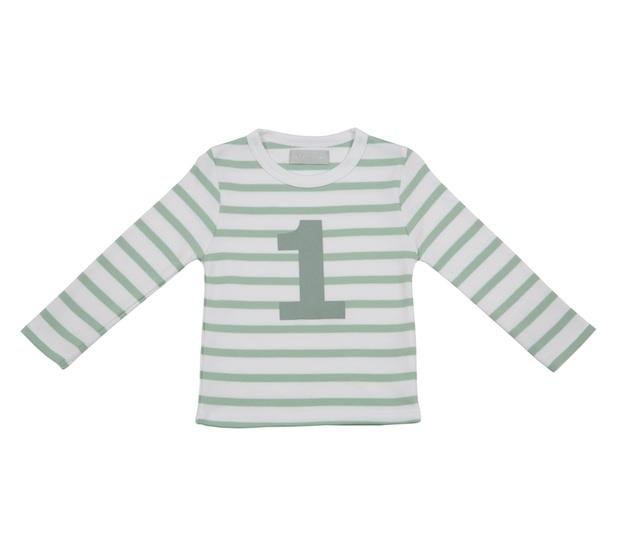 Seafoam and green breton strip organis cotton long sleeve tee with a moss green number printed on the front fom 1 2 3 and 4 by Bob and Blossom at Crane and Kind