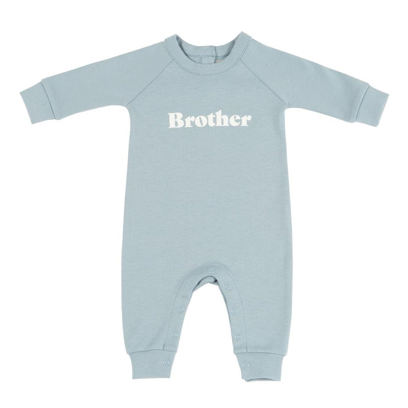 sky blue brother print all i one baby grow with poppers perfect for new siblinds from bob and blossom at crane and kind