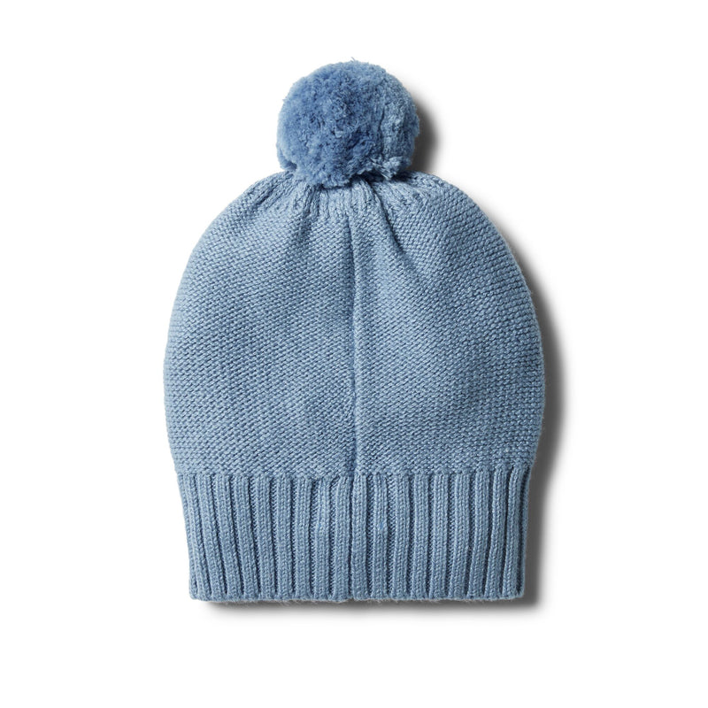 Faded Denim Knitted Hat with Baubles
