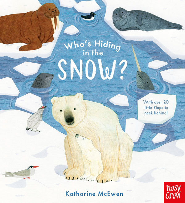 who's hiding in the snow in this interactive board book featuring 20 flaps to explore showing a polar bear and other animals who live in a cold habitat at Crane and Kind